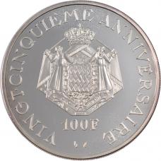 1974 - 100 F Prince Rainier III - 25e anniversaire - Pièce Monétiforme en Argent